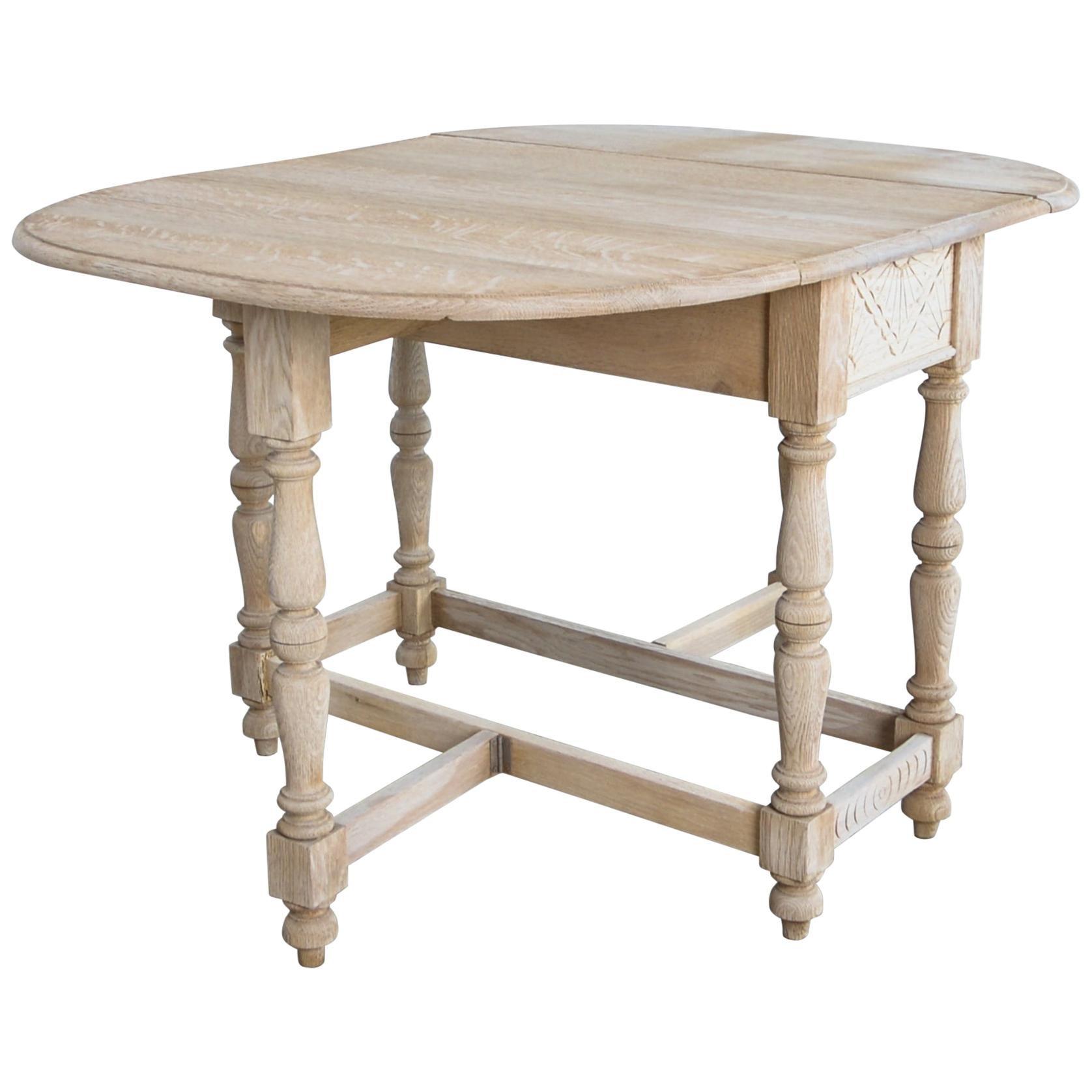 1920s Gate Leg English Oak Dining Table