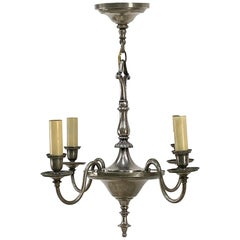 1920s Georgian 4 Arm Silvered Bronze Chandelier Signed by Bradley & Hubbard