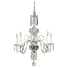 1920s Georgian Style Cut Crystal 5-Light Chandelier