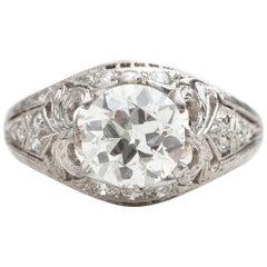 1920s GIA Certified 1.90 Carat Total Diamond Platinum Engagement Ring