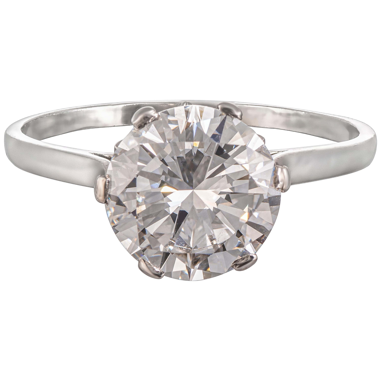 1920s GIA Certified 3.03 Carat D VVS1 Round Cut Diamond Ring Set in Platinum