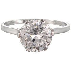1920s GIA Certified 3.03 Carat D VVS1 Round Cut Diamond Ring Set in Platinum