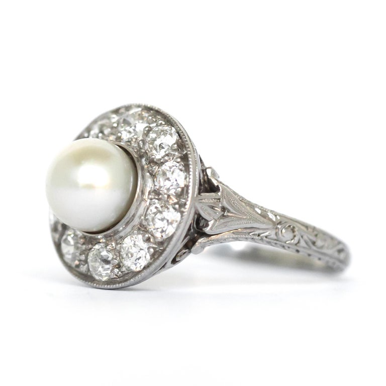 1920s GIA Certified Pearl Diamond Platinum Engagement Ring 2