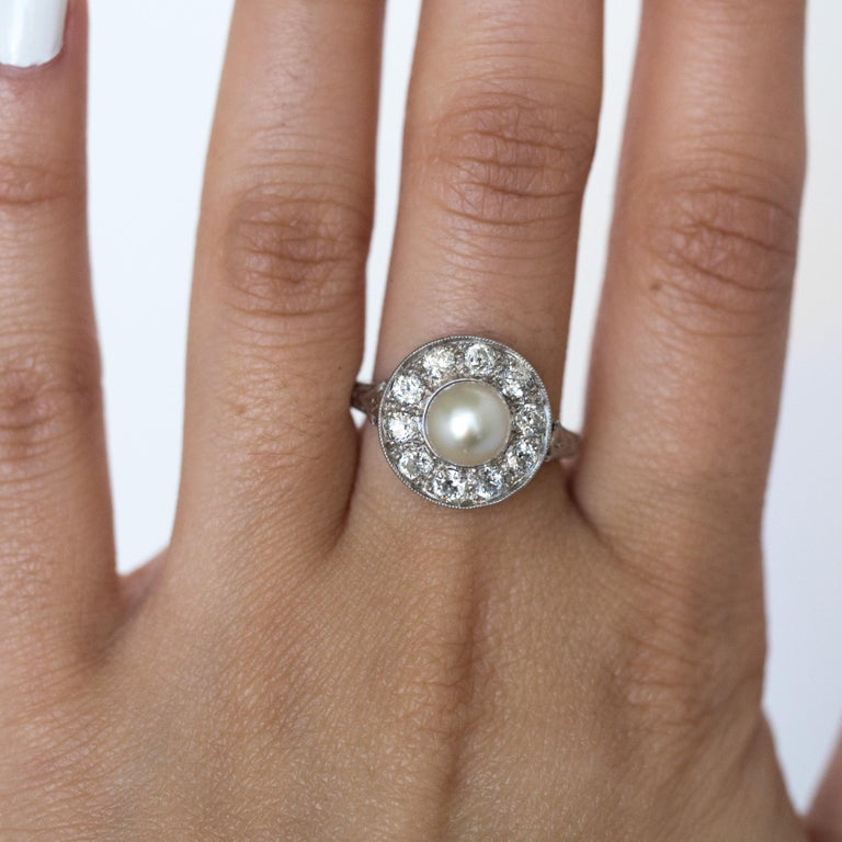 1920s GIA Certified Pearl Diamond Platinum Engagement Ring 6