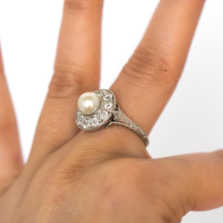 1920s GIA Certified Pearl Diamond Platinum Engagement Ring 7