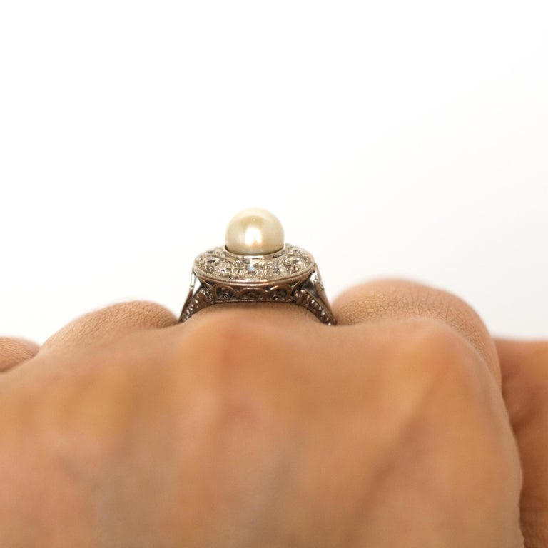 1920s GIA Certified Pearl Diamond Platinum Engagement Ring 8