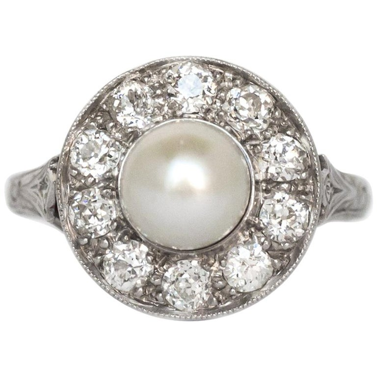1920s GIA Certified Pearl Diamond Platinum Engagement Ring 1