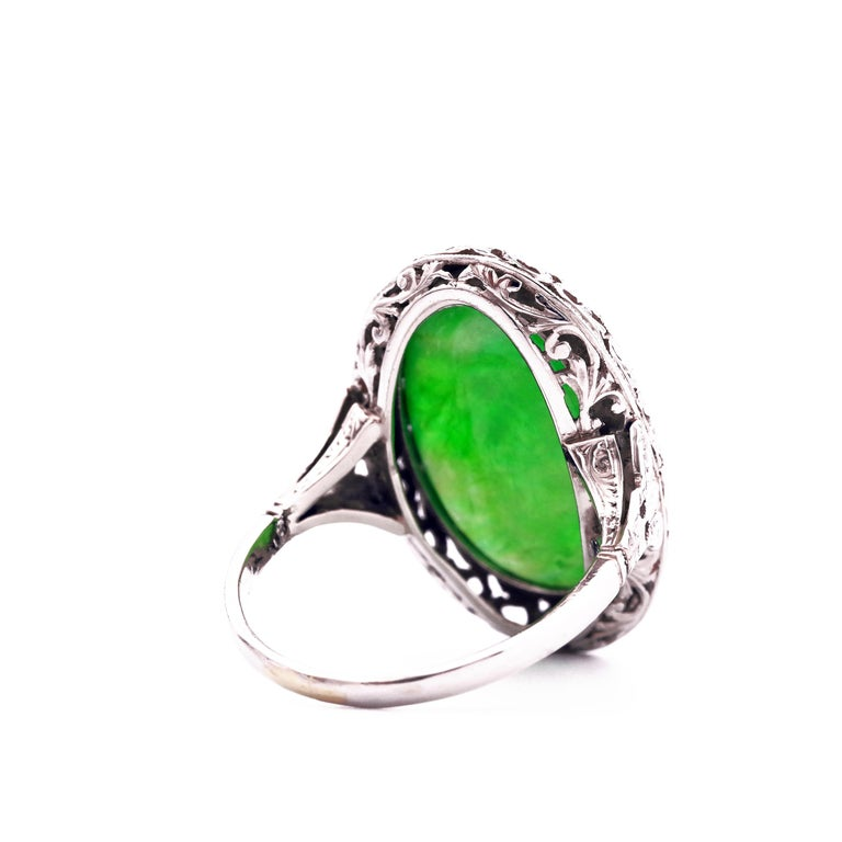 1920s GIA Certified Untreated Water Jadeite Jade Ring in Platinum For Sale 5