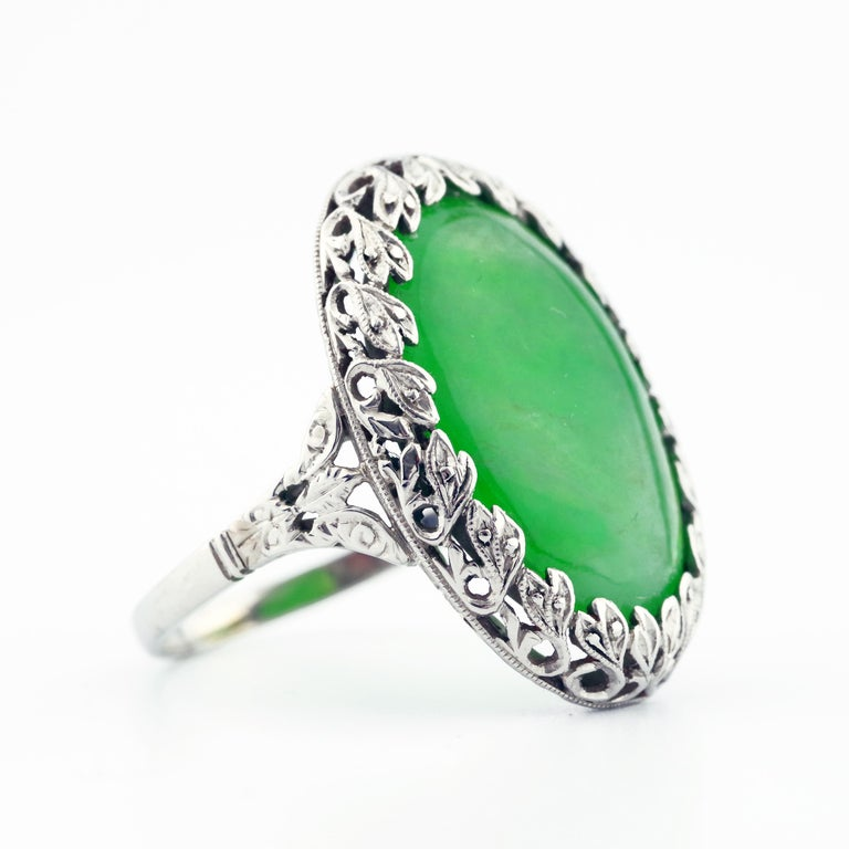 Art Deco 1920s GIA Certified Untreated Water Jadeite Jade Ring in Platinum For Sale