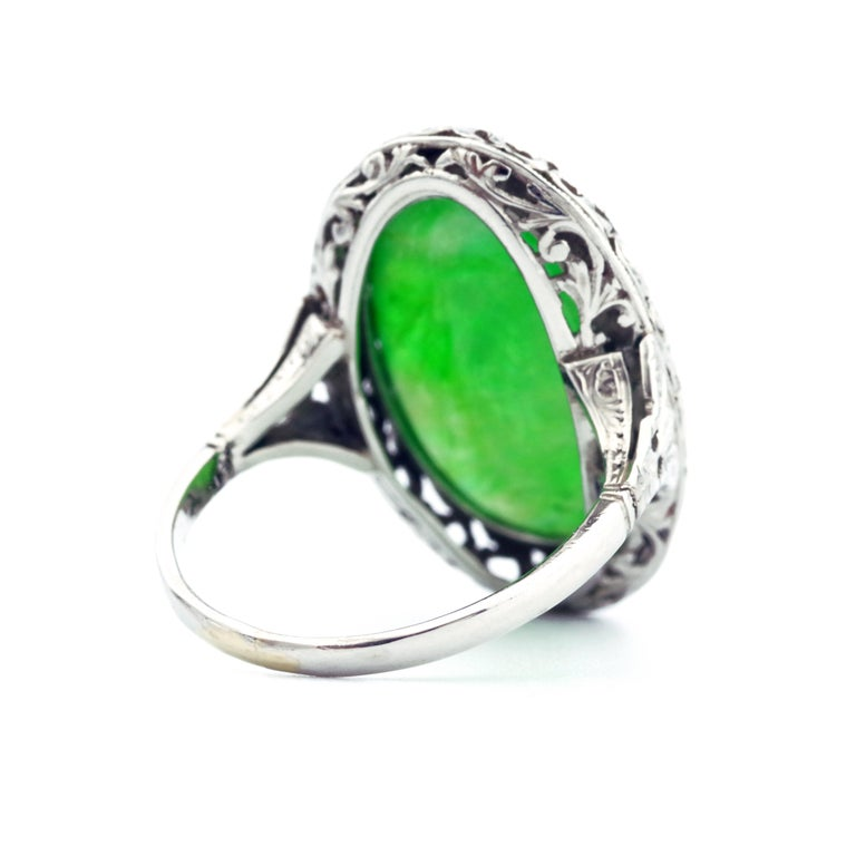 1920s GIA Certified Untreated Water Jadeite Jade Ring in Platinum For Sale 4