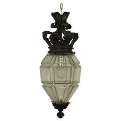 1920er Jahre Glas Laterne mit Krone Oben