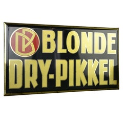 1920s Glassoïd on Tin Advertising Sign for Belgium Beer, Blonde Dry-Pikkel