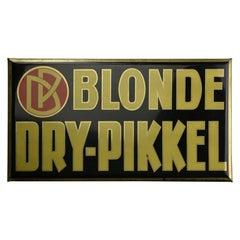 1920s Glassoïd on Tin Advertising Sign for Belgium Beer, Blonde Dry-Pikkel
