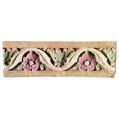 1920s Glazed Polychrome Floral Terracotta Stone