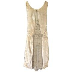 1920s Gold Ivory Silk Velvet & Silk Chiffon Pearl Flower Beaded Dress