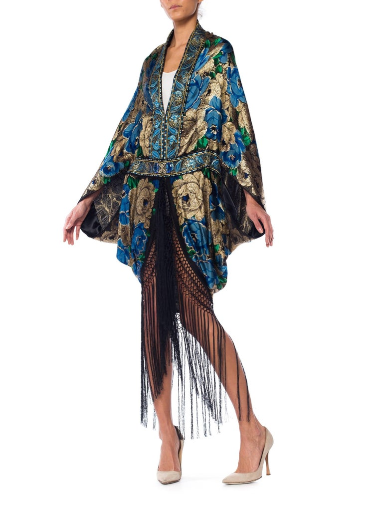 Gold Lamé Cocoon with Fringe and Crystals, 1920s  For Sale 5