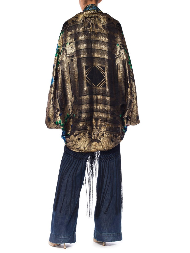 Black Gold Lamé Cocoon with Fringe and Crystals, 1920s  For Sale