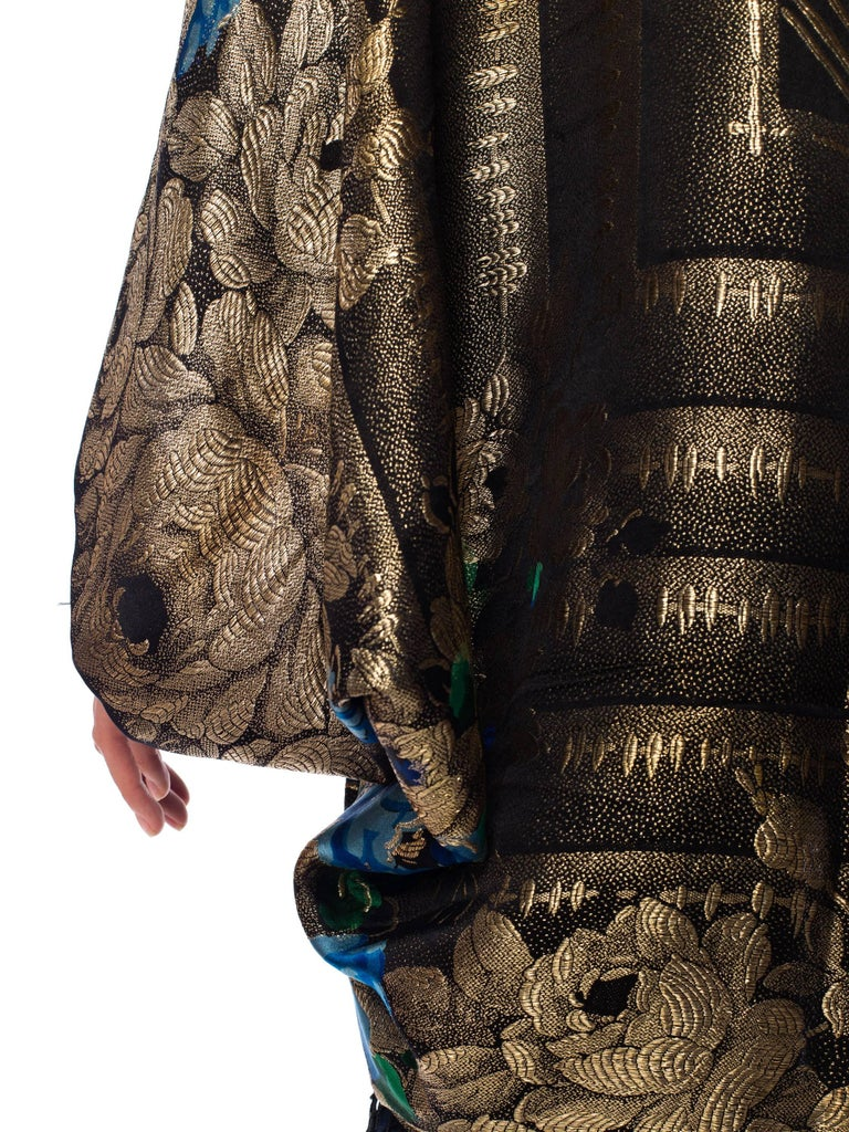 Gold Lamé Cocoon with Fringe and Crystals, 1920s  For Sale 1