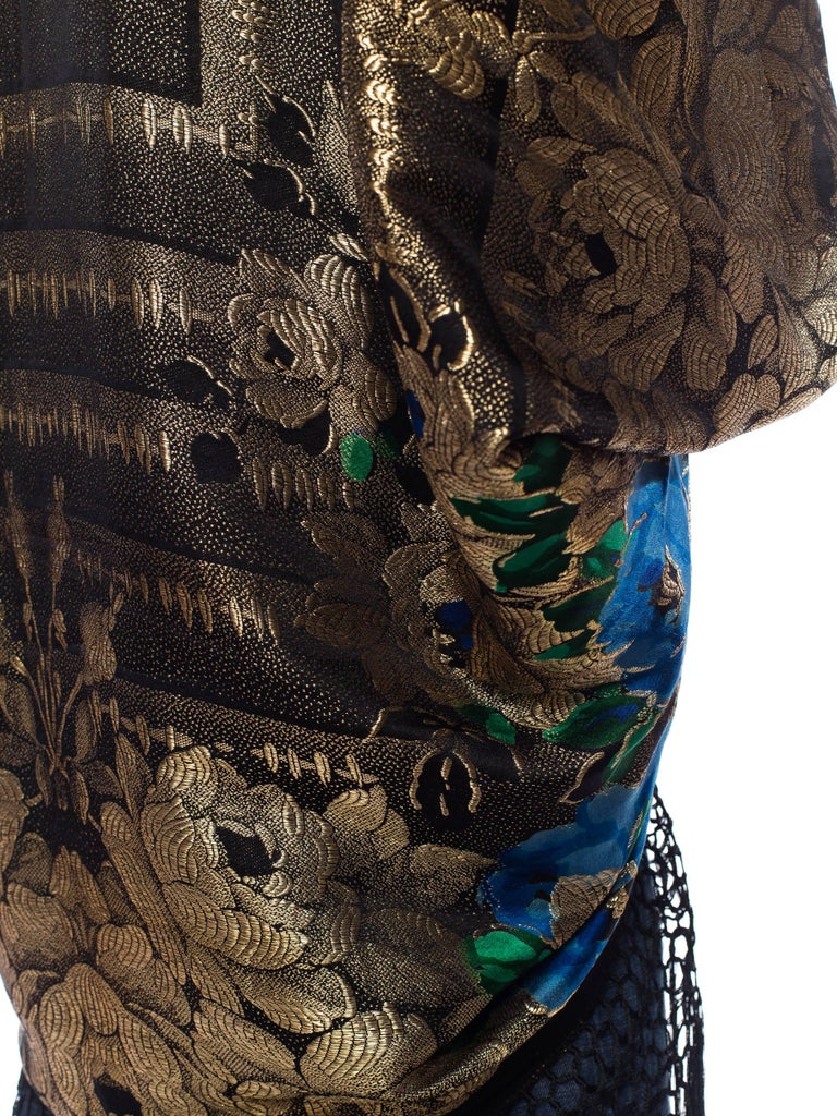 Gold Lamé Cocoon with Fringe and Crystals, 1920s  For Sale 2