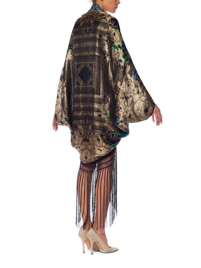 Gold Lamé Cocoon with Fringe and Crystals, 1920s  For Sale 4