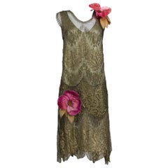 1920s Gold Metallic Lace Flapper Dress Vintage