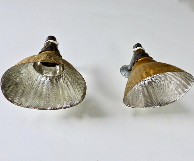 American 1920s 'Golden Armor' Mercury Sconce X-Ray Lights by Curtis Lighting For Sale