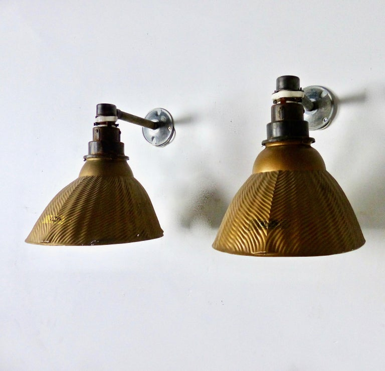 Early 20th Century 1920s 'Golden Armor' Mercury Sconce X-Ray Lights by Curtis Lighting For Sale