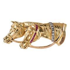1920s Golden Horse Motif Brooch
