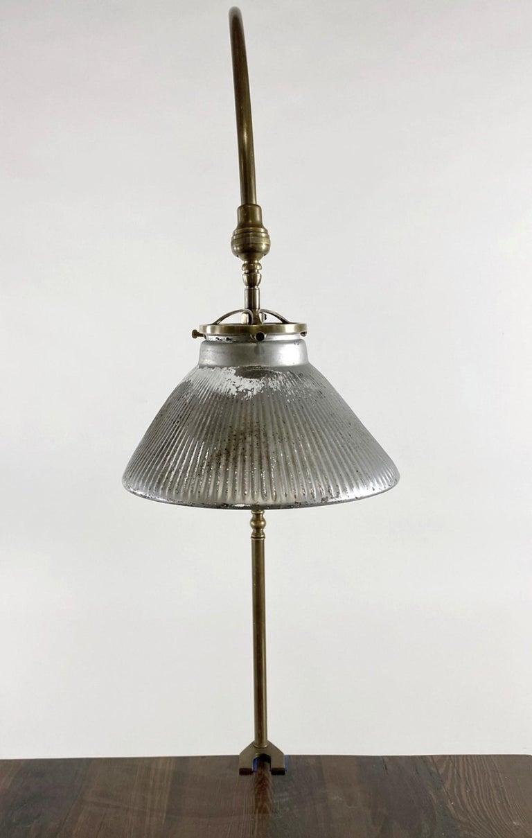 American 1920s Gooseneck Brass Desk Lamp & Mercury Glass Shade For Sale