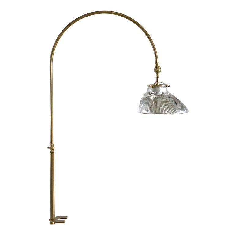 1920s Gooseneck Brass Desk Lamp & Mercury Glass Shade For Sale