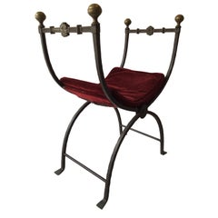 1920s Gothic Iron Bench with Brass Accents