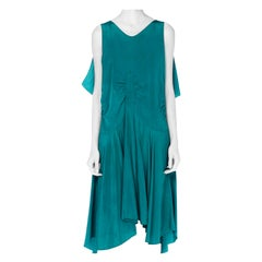 1920S Teal Silk Charmeuse  Cocktail Dress With Bias Skirt