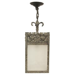 1920s Hammered and Wrought Steel Lantern with Frosted Glass Panels