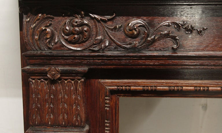 Hand-Carved 1920s Hand Carved Wood Federal Style Mantel with a Dark Mahogany Finish For Sale