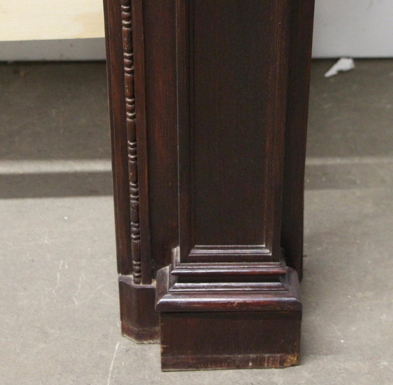 Early 20th Century 1920s Hand Carved Wood Federal Style Mantel with a Dark Mahogany Finish For Sale