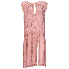 1920s Hand Embroidered & Beaded Sheer Pink Flapper Dress