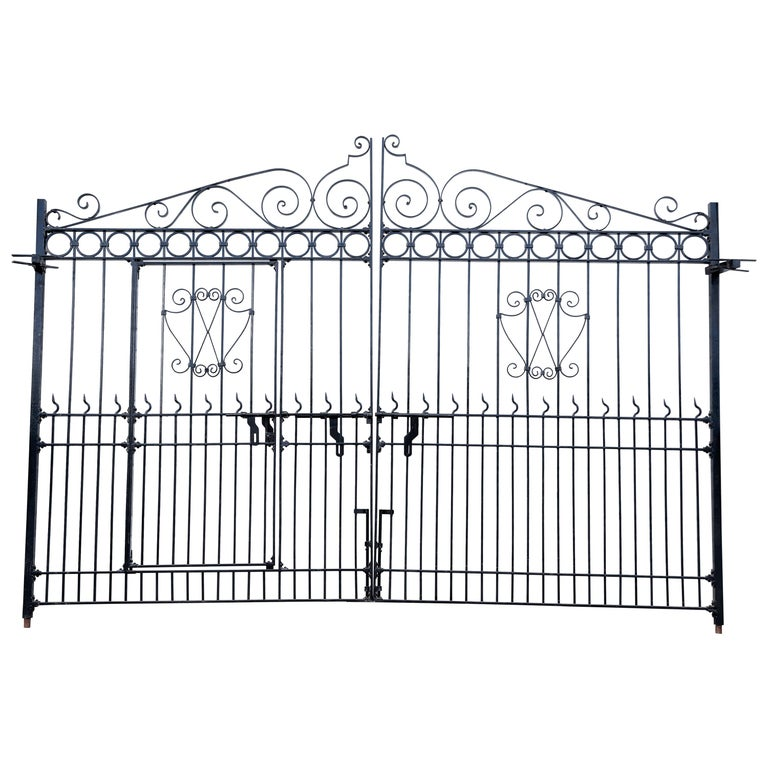 1920s Hand-Forged Monumental Steel Gate from a Forest