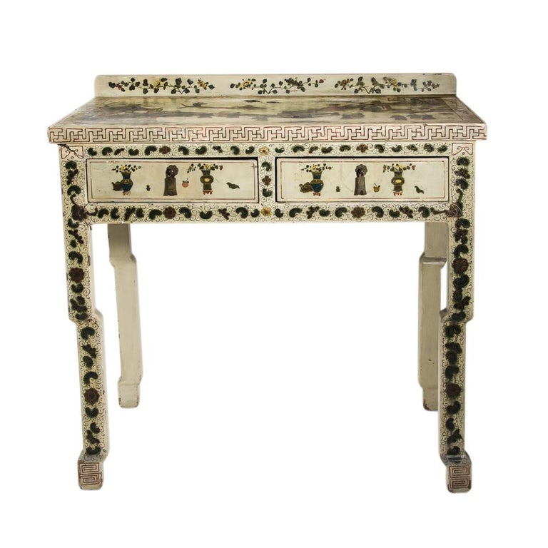 Chinoiserie 1920s Hand Painted White Lacquered Dressing Table with Matching Stool Italian For Sale