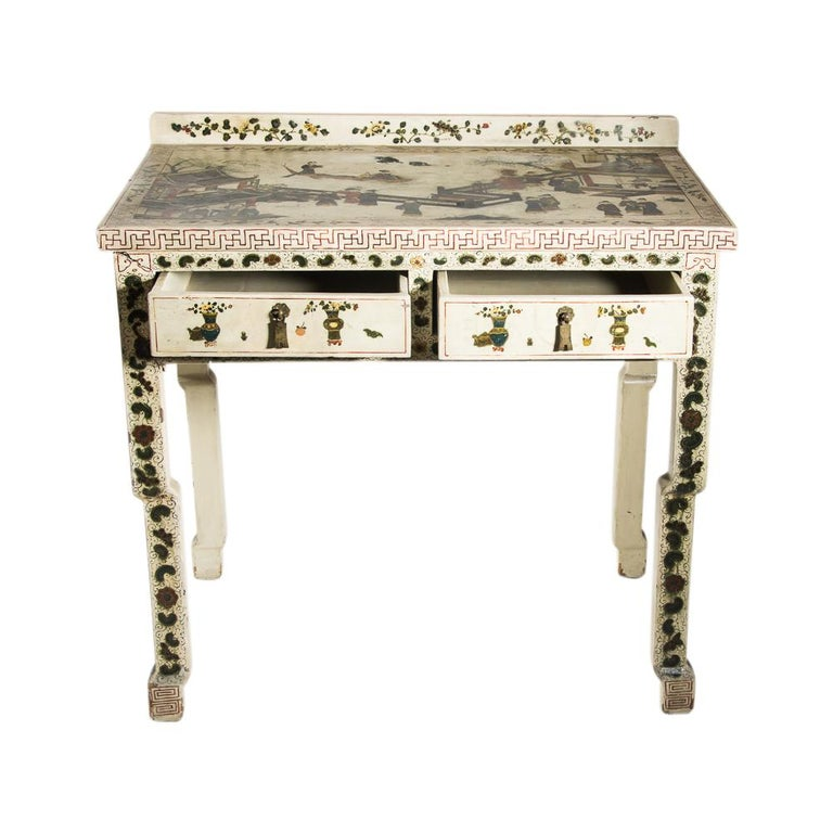 1920s Hand Painted White Lacquered Dressing Table with Matching Stool Italian In Good Condition For Sale In London, GB