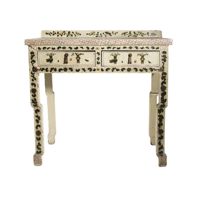 Wood 1920s Hand Painted White Lacquered Dressing Table with Matching Stool Italian For Sale