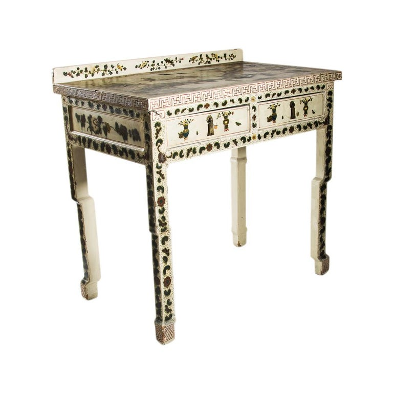 1920s Hand Painted White Lacquered Dressing Table with Matching Stool Italian For Sale 2