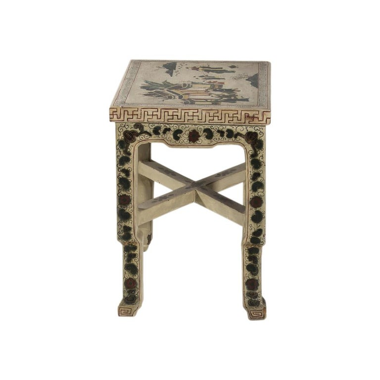 1920s Hand Painted White Lacquered Dressing Table with Matching Stool Italian For Sale 3