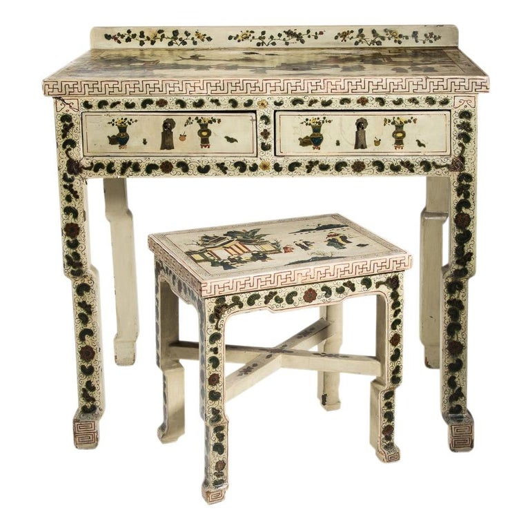 1920s Hand Painted White Lacquered Dressing Table with Matching Stool Italian For Sale