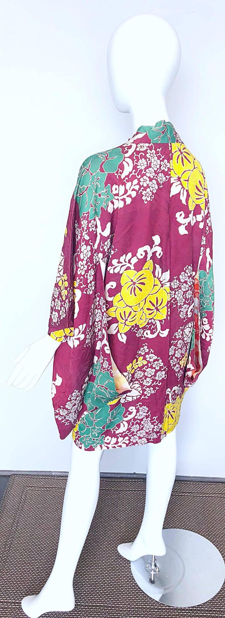 eea1ccead 1920s Hand Sewn Silk Damask Vintage 20s Maroon Pink Haori Kimono Jacket For  Sale 6