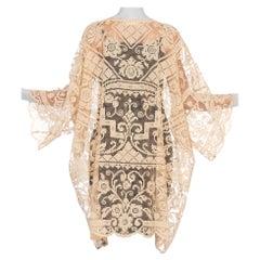 1920's Handmade Filet Lace Kimono Jacket