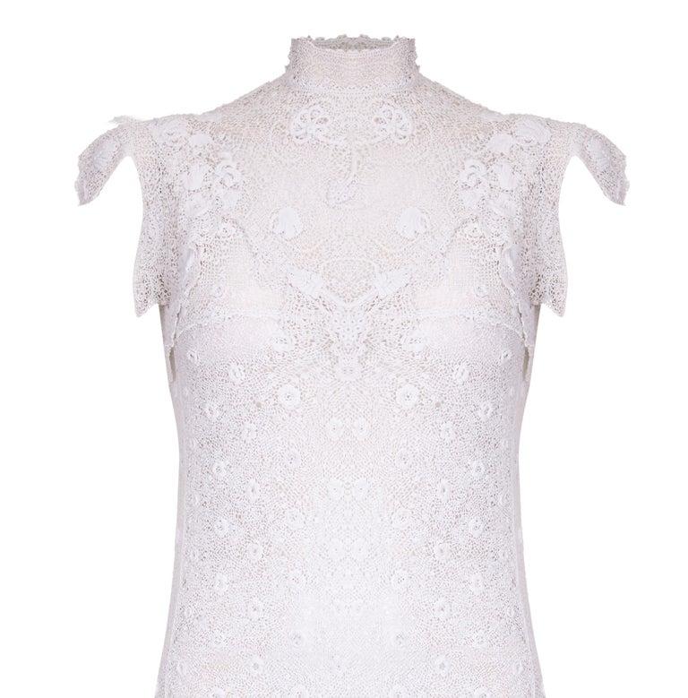 1920s Handmade Irish Crochet Lace White Dress For Sale At