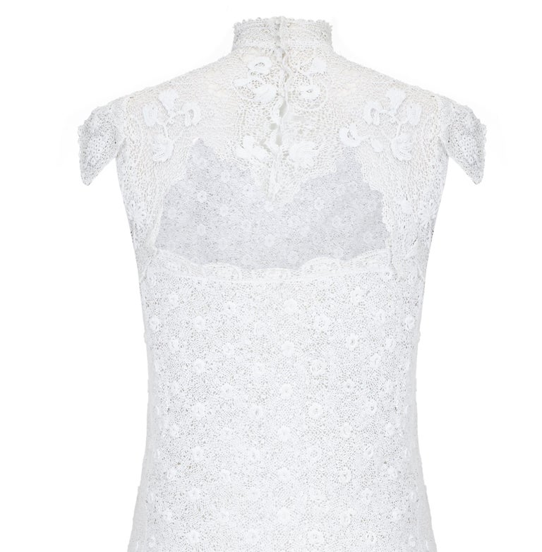 1920s Handmade Irish Crochet Lace White Dress  In Excellent Condition For Sale In London, GB