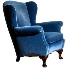 1920s, Hollywood Regency Blue Velvet Wingback Club Lounge Armchair, Sweden