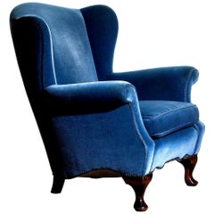 1920s, Hollywood Regency Blue Velvet Wingback Club Lounge Armchair, Sweden