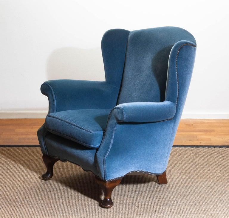 1920s, Hollywood Regency Blue Velvet Wingback Club / Lounge Chair, Sweden For Sale 5